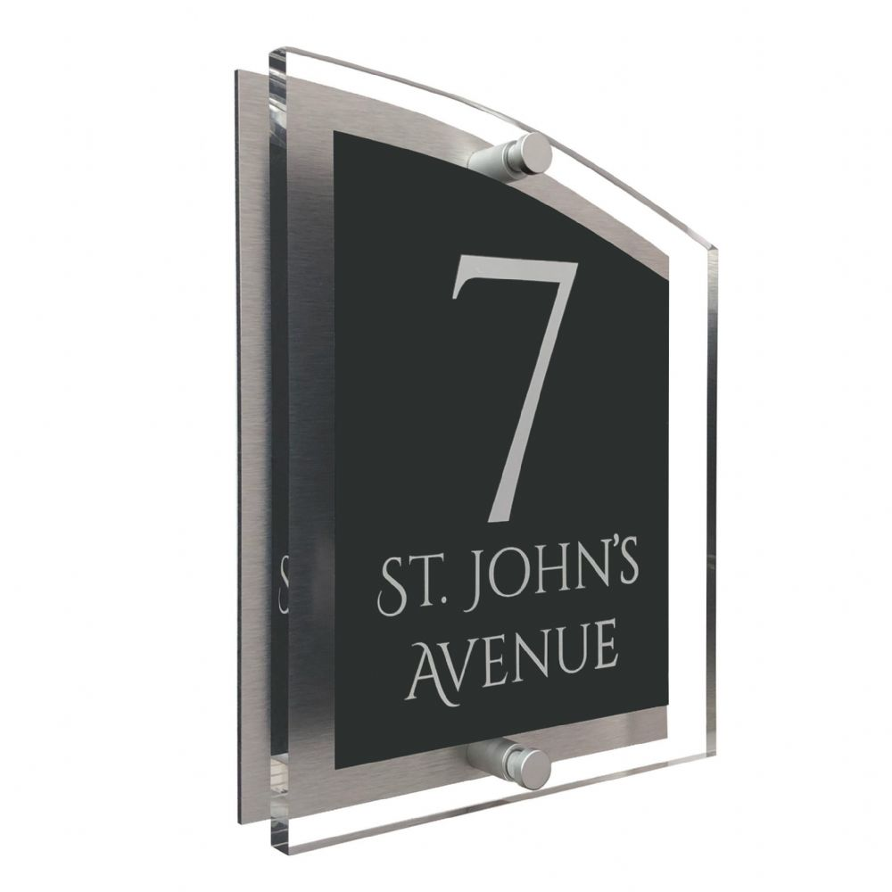Arc Shape - Clear Acrylic House Sign - Anthracite Colour with White text in Font  1